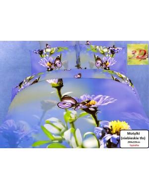 Pościel 200x220 Motylki - niebieskie tło