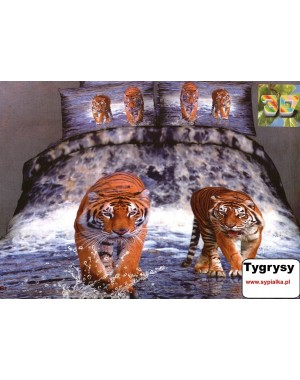 Pościel 3D Tygrysy woda 200x220 satyna bawełniana