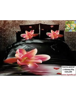 Czarna pościel z różową lilią 160x200
