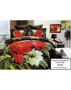 Pościel 3D Kwiatowa dżungla czarna 160x200