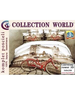 Pościel 3D Czerwony Rower 160x200 bawełna satyna