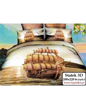 Pościel 3D Statek Okręt 200x220 bawełna satynowa Collection World