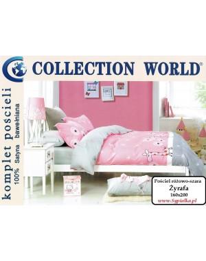 Pościel różowo-szara Żyrafa 160x200 dla dziewczynki, satyna bawełniana