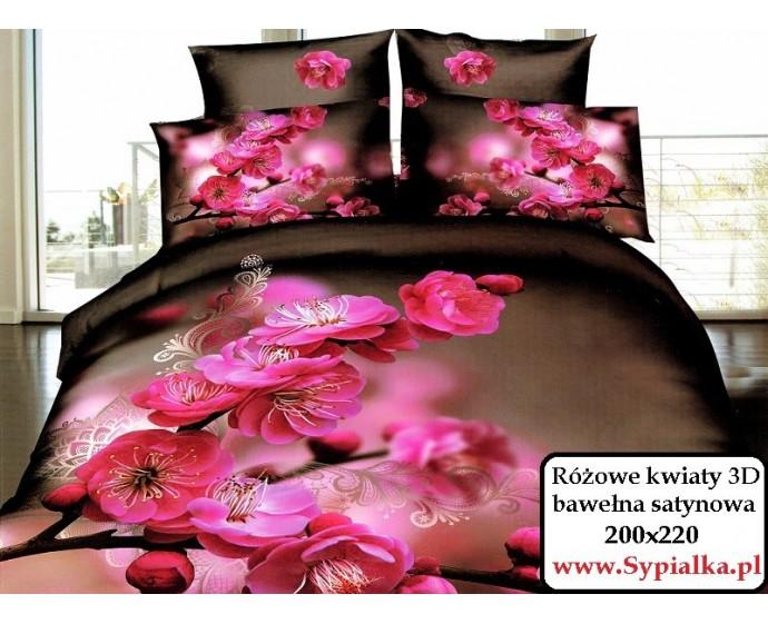 Pościel 3d Różowe Kwiaty Japoński Motyw 200x220 Sypialka