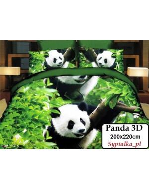 Pościel 3D Panda 200x220 Zielone tło - Pandy - Misie