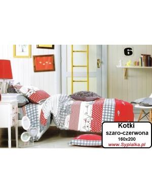 Pościel Kotki szaro-czerwona 160x200