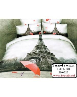 Pościel 3D Czerwony parasol i wieża Eiffla 200x220 z jaśkami i prześcieradłem