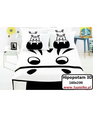 Pościel 3D Czarno-biała Hipcio 160x200 Hipopotam