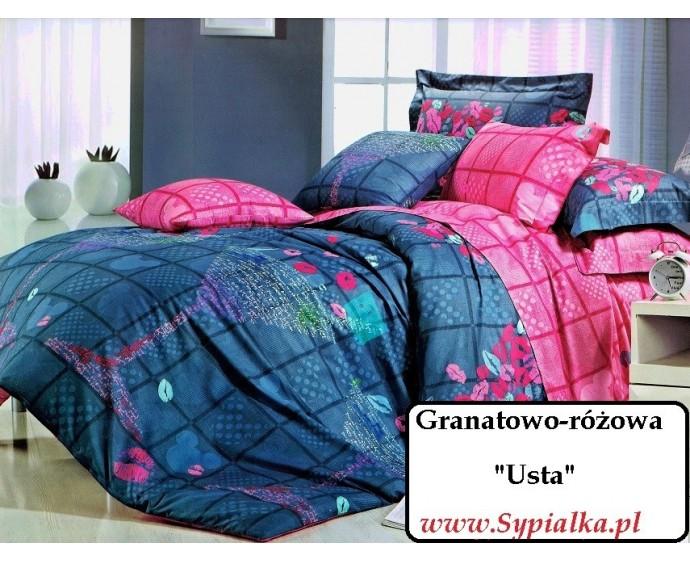 Pościel Granatowo Różowa Usta Kielich 180x200 Satyna Bawełniana
