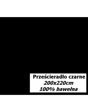 Prześcieradło 200x220cm czarne z bawełny