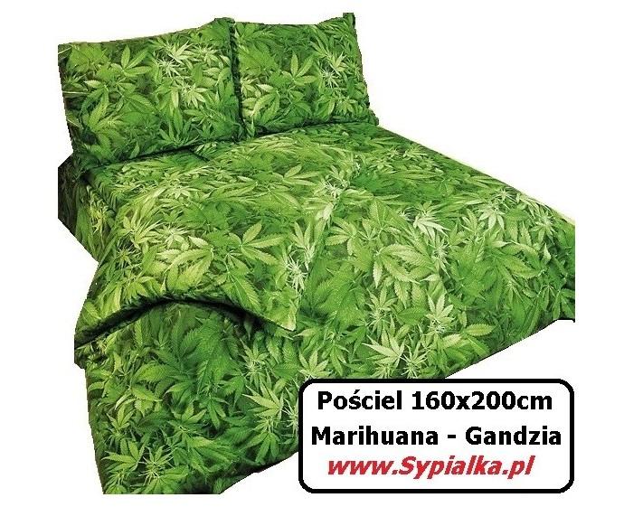 Pościel Zielona Marihuana 160x200 Gandzia Zioło
