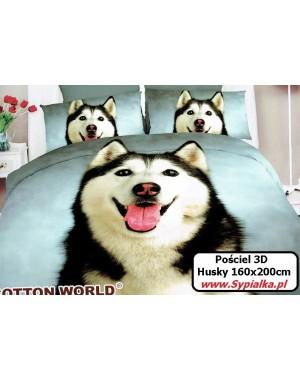 Pościel Husky 3D 160x200 szara z psem