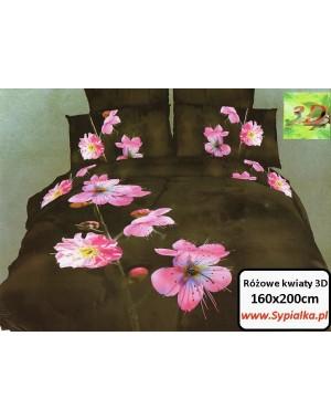 Pościel 3D Różowe kwiaty - brązowo-zielone tło 160x200 satyna bawełniana