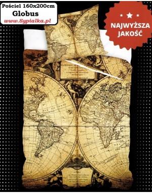 Pościel Globus 160x200cm Mapa - Brązowa