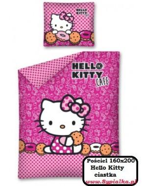 Pościel Różowa Hello Kitty - Ciastka 160x200 dla dziewczynki