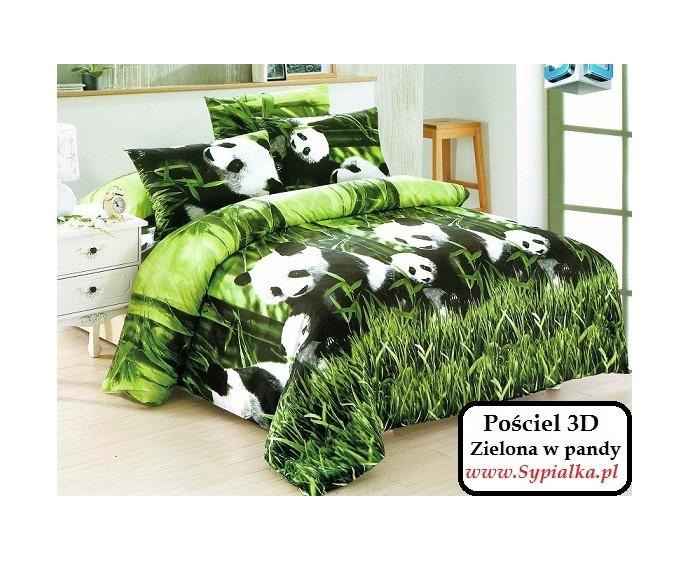 Masywnie Pościel 3D Zielona w Pandy 160x200 nowoczesna foto - Sypialka UI36