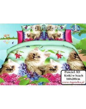 Pościel 3D Urocze kotki w kwiatach bzu 160x200 z kotkami