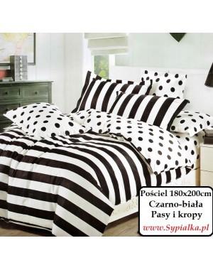 Pościel czarno-biała w pasy i kropy 180x200cm paski czarna biała