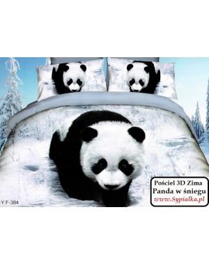 4cz. Pościel 3D Panda zimą 180x200cm z prześcieradłem