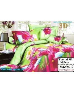 Pościel 3D Zielona w kolorowe kwiaty i motyle 200x220 seledyn