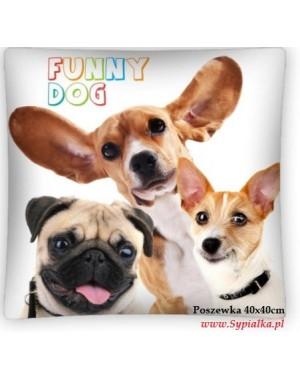 Poszewka 3D Wesołe pieski 40x40cm jasiek Funny dog