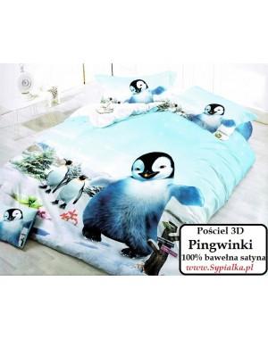 4cz. Pościel 3D Pingwinki 140x200 Niebieska z pingwinami