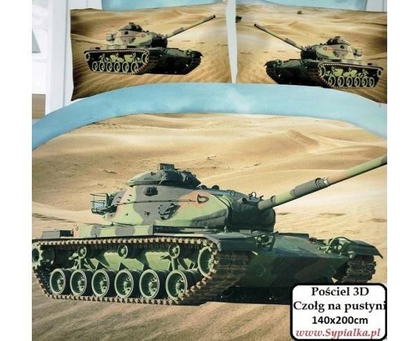 4cz. Pościel militarna Czołg na pustyni 140x200cm z prześcieradłem