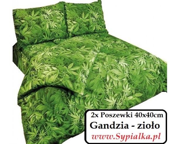 2xPoszewka Gandzia 40x40 Zielona w zioło bawełniana