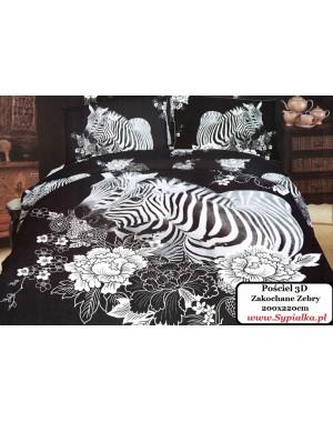 Pościel Zebra 160x200 Zakochane Zebry 3D