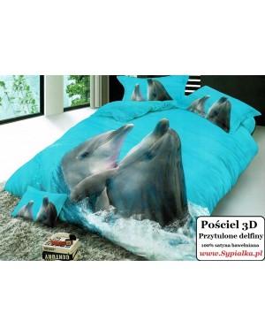 Pościel 3D Delfiny 160x200 satyna bawełniana