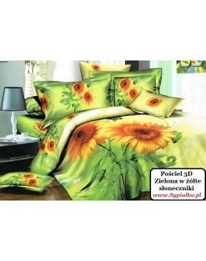 Pościel 3D Zielona w żółte słoneczniki (293) 200x220 z satyny bawełnianej