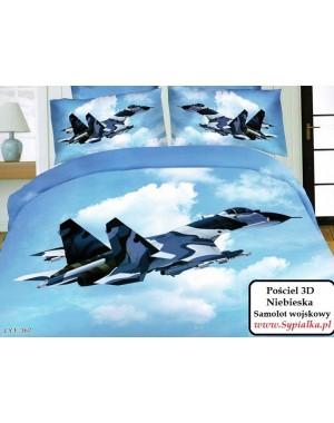 4cz. Pościel 3D Samolot wojskowy 140x200 z prześcieradłem
