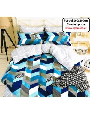 Pościel niebieska 160x200 geometryczna
