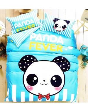 4cz. Błękitno-biała w pasy z Pandą 160x200cm panda