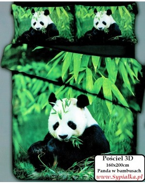 Pościel 3D Panda 160x200 Zielona w Pandy z satyny bawełnianej