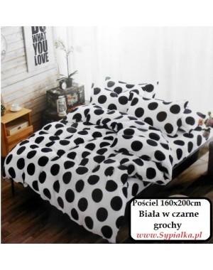 Pościel Biała w czarne grochy 160x200 Kropy