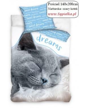 Pościel Niebieska z szarym kotkiem 140x200 kotek