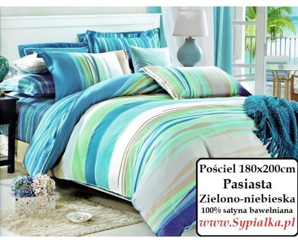 Pościel Paski Zielono Niebieska 180x200 Bawełna Sypialka Pościel