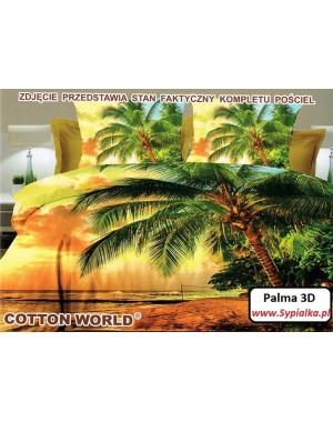 Pościel 3D Palmy - Zachód słońca 160x200 satyna bawełniana