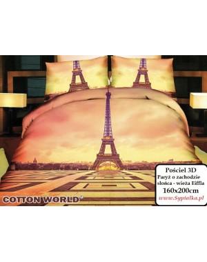 Pościel 3D Paryż o zachodzie słońca 160x200 wieża eiffla