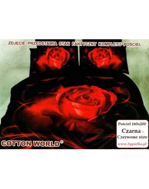 Pościel 3D Czerwone róże 160x200 romantyczna z satyny bawełnianej