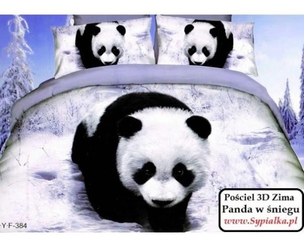 Pościel 3D Panda Zimą 200x220 satyna bawełniana
