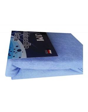 Prześcieradło frotte 90x200 niebieskie jasne błękitne
