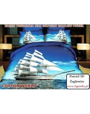 Pościel 3D Statek na morzu 200x220 Okręt z satyny bawełnianej