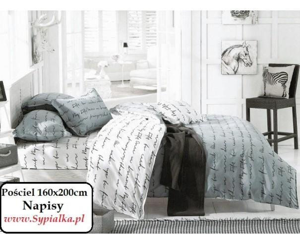 Modish Pościel Napisy 160x200 biało-szara modna i nowoczesna - Sypialka ZJ75