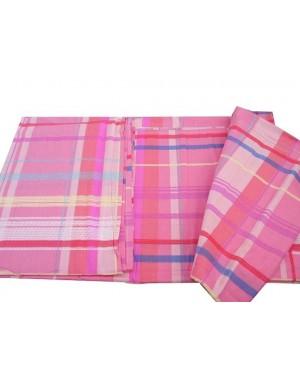 Prześcieradło różowa kratka 200x230cm bawełna