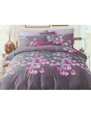 Pościel Szara we fioletowe kwiaty 160x200