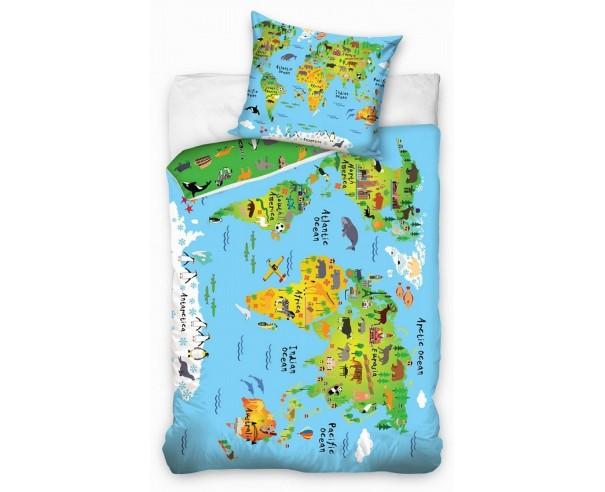 Pościel dziecięca - Mapa Świata 160x200 bawełna Zwierzęta-Oceany