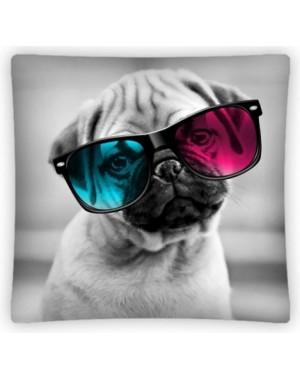 Poszewka 3D Mops w okularach 40x40cm