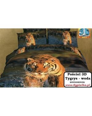 Pościel 3D Tygrys - woda 160x200 przepiękny wzór tygrysa
